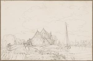 Landschap met huizen aan een rivier