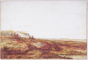 Panoramalandschap met twee figuren bij een schuurtje