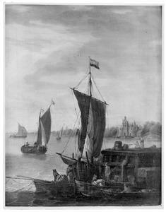 Rivierlandschap met schepen bij een aanlegsteiger