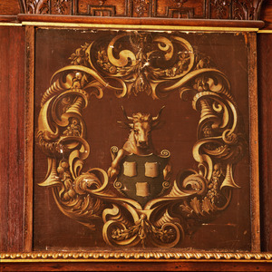 Cartouche met heraldisch wappen