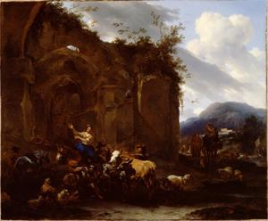 Hoefsmid die een ezel beslaat voor een ruïne