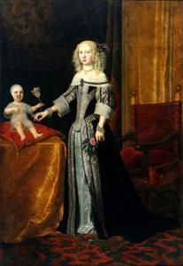 Portret van Elisabeth Amalia von Hessen-Darmstadt (1635-1709) vermoedelijk met haar oudste dochter Eleonora Magdalena Theresia von Pfalz-Neuburg (1655-1720)
