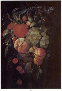 Vruchten festoen aan een blauw lint
