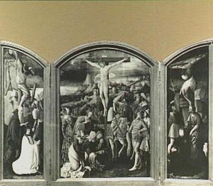 De gekruisigde Christus met Maria, Maria Magdalena en Johannes Evangelista, geflankeerd door donoren met hun schutspatronen op de zijvleugels, knielend onder de kruizen van de goede en de kwade moordenaar
