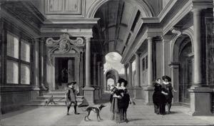 Elegante figuren in een galerij