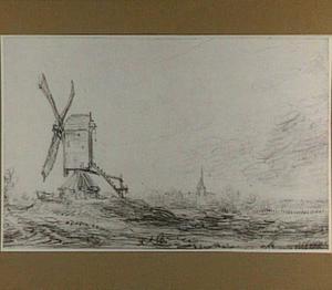 Landschap met molen en kerktoren (Voorburg?)