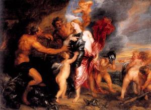 Thetis ontvangt de wapens voor Achilles van Vulcanus