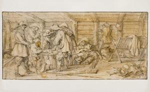 Dobbelende soldaten in een wachtlokaal