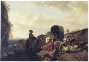 Zuidelijk landschap met herders en reizigers bij een doorwaadbare plaats