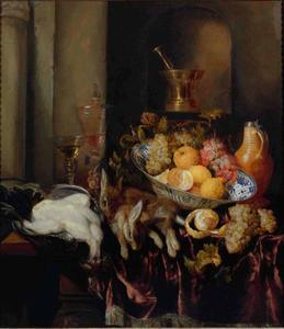 Stilleven met jachtbuit en vruchten