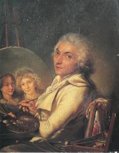 De kunstenaar Pierre Lacour (1745-1814) die zijn vrouw Dorothée en hun dochter Aimée schildert