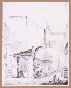 Binnenplaats met figuren in Rome
