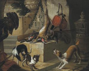 Drie honden bij jachtbuit bij de ingang van een gewelf