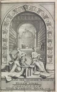 Titelprent met Clio, Erato en een bibliotheek