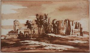 Italiaans landschap met landhuis en klassieke ruïne