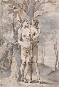 Adam en Eva met de appel