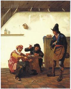 Drie mannen, onder wie een violist, in een herberg