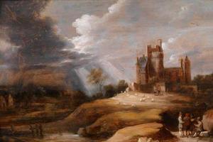 Landschap met een burcht en naderend onweer; op de voorgrond pratende mannen