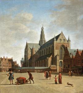 Gezicht op de St. Bavo aan de Grote Markt te Haarlem