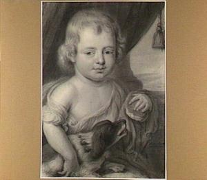 Portret van kind met hondje op schoot