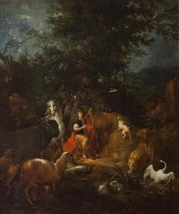Orpheus met dieren in een landschap