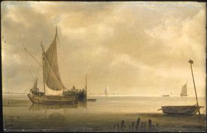 Plas met schepen bij windstilte