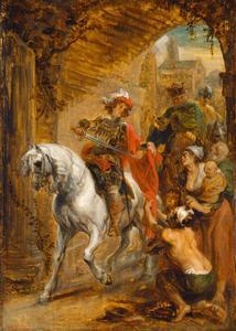 De heilige Martinus deelt zijn mantel met een bedelaar