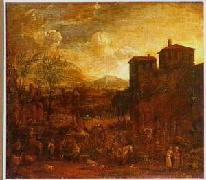 Italiaans landschap met markt