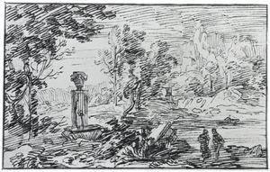 Rotsachtig landschap met een fontein en figuren