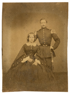 Portret van Jacob Hennequin (1835-1871) en Georgetta Louisa Sophia Secunda Visscher (1841-1886)