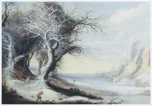 Winterlandschap met houtsprokkelaars bij een bevroren rivier