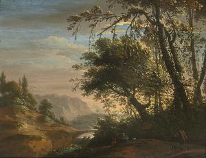 Zuidelijk landschap met reizigers bij een waterval
