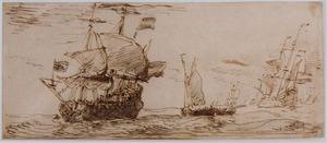 Hollandse driemasters en kleinere zeilschepen op zee