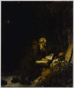Een fransiscaanse heremiet mediterend in de wildernis