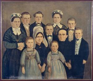 Portret van Petrus Cornelis Serrarens (1817-1888) , Christina van Trappen (1824-1908) en hun kinderen