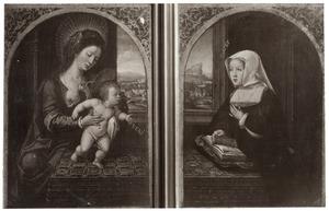 Maria met kind (links), portret van Margaretha van Oostenrijk (rechts)