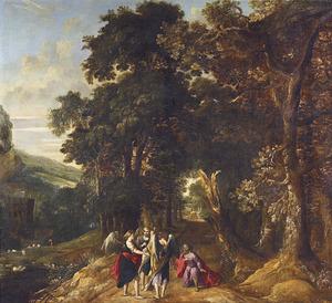 Abraham knielt voor de drie engelen in een landschap (Genesis 18:2)