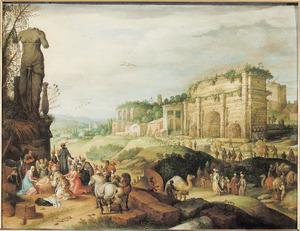 Landschap met de aanbidding der koningen temidden van Romeinse ruïnes