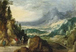 Berglandschap met ruiters die op een landweg een bedelaar ontmoeten