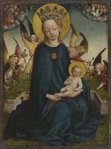 Maria met het Christuskind bij een plantenbak