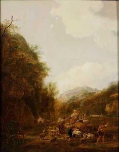 Berglandschap met rustende herders bij het vallen van de avond