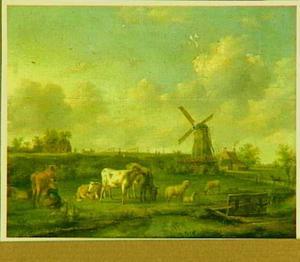 Rivierlandschap met een melkmeisje en vee bij een molen