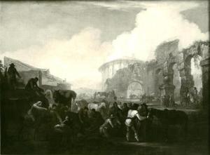Reizigers bij een halteplaats met ruïnes in de achtergrond