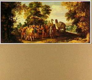 Boslandschap met Jozef die door zijn broers wordt verkocht aan de Egyptenaren (Genesis 37:28)
