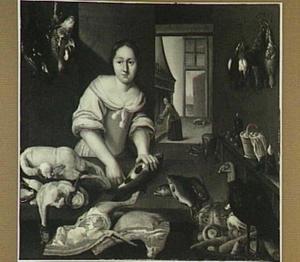 Keukenstuk met meid die vis schoonmaakt