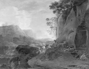 Een rotsachtige bergvallei met herders en vee