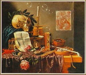 Vanitasstilleven van schedel met lauwerkrans, rookgerei, zandloper en roos op een tafel; aan de wand een tekening van de heilige Hiëronymus