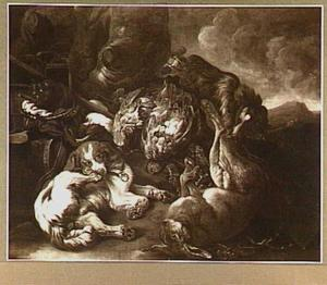 Buit van haas en gevogelte met twee honden in een landschap