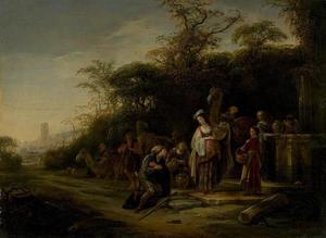 Eliezer vraagt Rebekka bij de bron om wat water (Genesis 24:17-22)