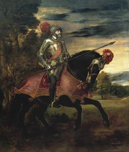 Portret van Karel V van Habsburg (1500-1558) bij de Slag van Mühlberg (1547)